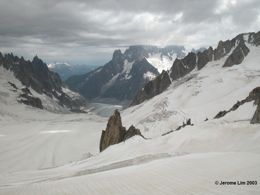 The Vallée Blanch (White Valley) as seen from the Gondola Panoramic Mont Blanc