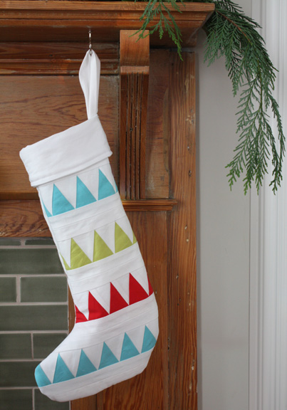 Paper Pieced Triangles Christmas Stockings | The Long Thread