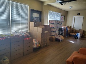 donated groceries awaiting pickup