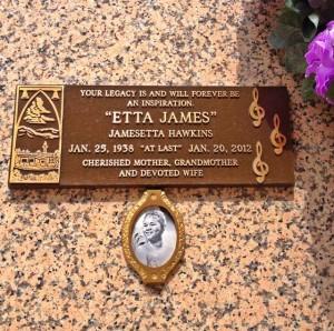 Etta James crypt at Inglewood Park Cemetery (Photo by Nikki Kreuzer)
