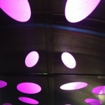 The trippy elevator lights in the Theme Building. (Photo by Nikki Kreuzer)