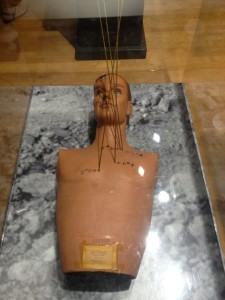 Mannequin showing the bullet trajectories of the Onion Field murder of Officer Ian James Campbell (Photo by Nikki Kreuzer)