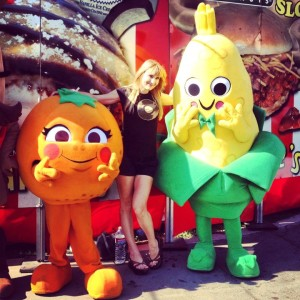 The author with some of the OC Fair mascots (photo courtesy of Nikki Kreuzer)