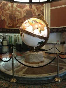 The beautiful 1935 globe lobby of the Los Angeles Times Building (photo by Nikki Kreuzer)