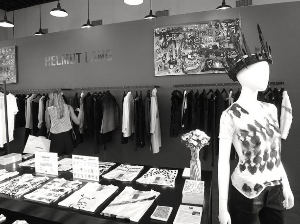 Gregory Siff limited edition T-shirts and artwork on display at Helmut Lang.    Photo by Gregory Siff