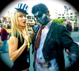 The author being zombified by one of Dark Harbor's wandering monsters (photo by Heather LaBella)