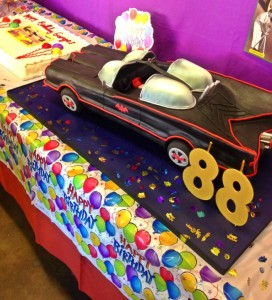 A Batmobile cake for George Barris' 88th birthday (photo by Nikki Kreuzer)
