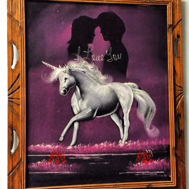 Unicorns and silhouettes of  people in love... Pure Black Velvet mastery (photo by Nikki Kreuzer)