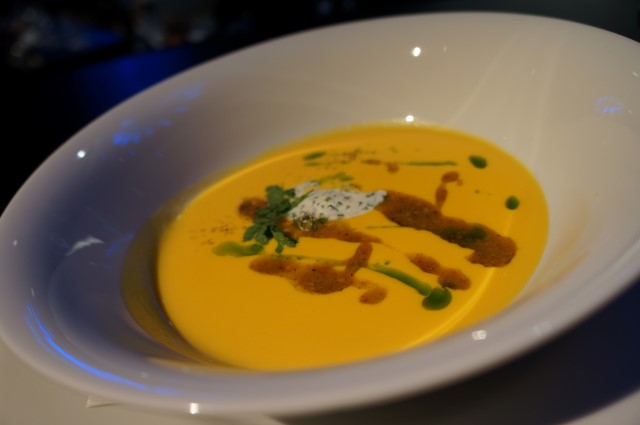 Naomi Pomeroy's Spring Carrot Veloute. Porcini Mushroom and Hazelnut Pistou, Herbed Creme Fraiche Mousse, Chive Oil