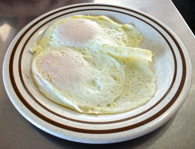 Over easy eggs at the 101 Cafe in Oceanside. Photo by Edward Simon for The Los Angeles Beat.