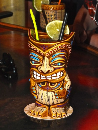 A Strand Local tiki drink and mug. Photo by Edward Simon for The Los Angeles Beat.