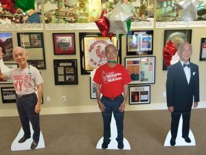 Life size cutouts of Huy Fong Foods founder David Tran in the greeting room of Irwindale factory (photo ny Nikki Kreuzer)