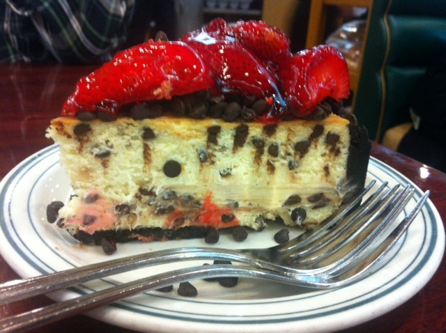 Brent's custom house made dark chocolate chip and strawberry cheesecake. (Photo by Aileen Fraser)