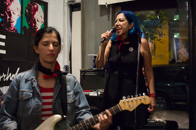 "Alice Bag w Patricia Klein on guitar performing at Lethal Amounts for the ""Pipe Bomb for the Soull"" release party on Friday June 26"