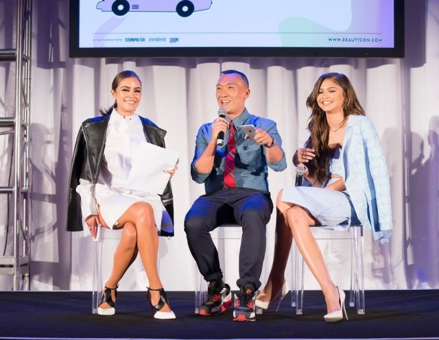 Olivia Culpo moderating a panel with Joe Zee and Zendaya at the BeautyCon LA Festival