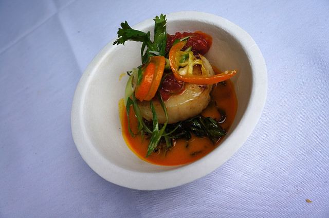 Tavern's Thai Inspired Carrot Broth with Coconut Black Rice, Sambal and Diver Scallop