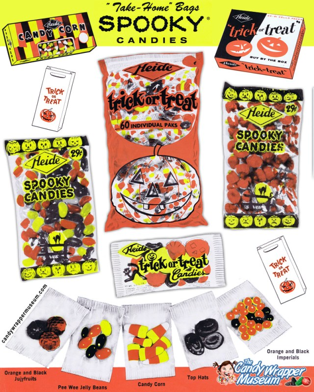 Composite of images from the 1961 Heide Halloween candy catalog