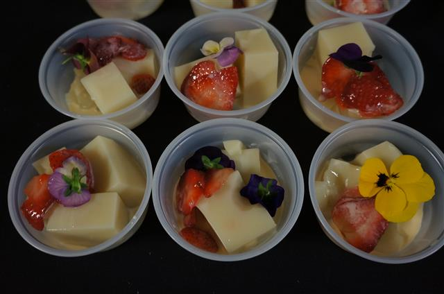 Button Mash/Starry Kitchen's almond agar agar and fruit