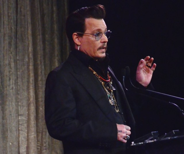 Actor Johnny Depp announces Lifetime Achievement awards winners at the 2016 Make-up artists and Hair Stylists Guild Awards at Paramount Theatre at Paramount Studios on February 20, 2016 in Hollywood, California, USA