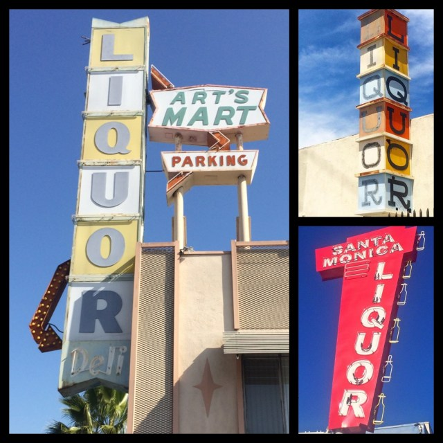 Cool shapes... Art's Liquor Mart, built in 1958, on E. Beverly Blvd in East L.A.; Sunrise Liquor on Saticoy St. in North Hollywood uses blocks letters to complement its front sunrise sign; Santa Monica Liquor on Wilshire Ave & 1oth Street in Santa Monica has liquor bottles which appear to be moving as they light up one at a time.