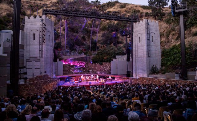 A crowd attends a show at the John Anson Ford Amphitheatre