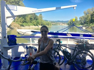 Disembarking with our bikes
