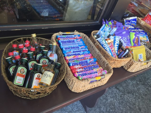 Nothing like liquor and candy to get the party started for the trek up to the castles