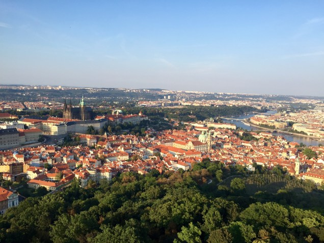 The view from the top, with Prague Castle in the distance