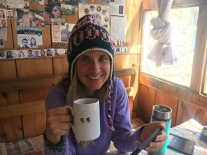 Trying to keep warm in our lodge in Upper Pisang