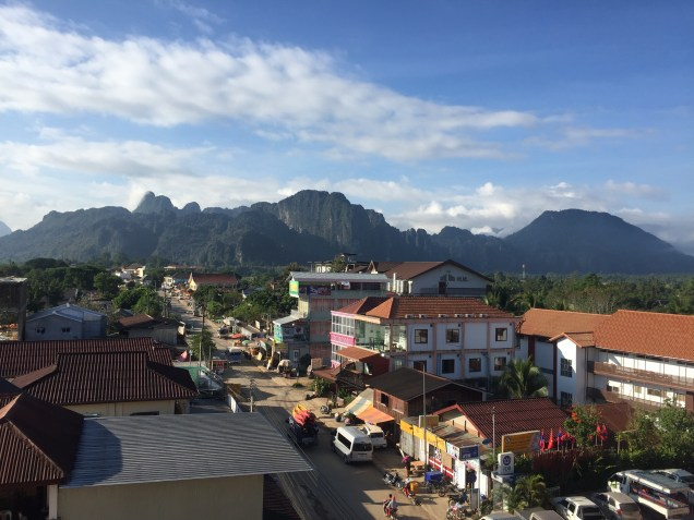 The view of Vang Vieng from our hostel