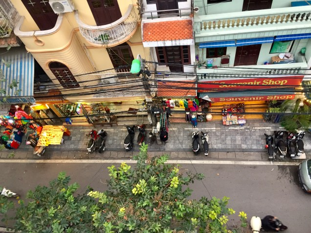 The view from our balcony at Hanoi 3B Hotel