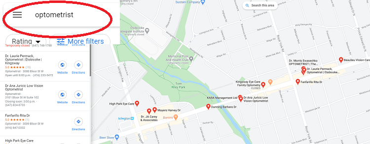 Google Maps of Optometrists in a Small Area