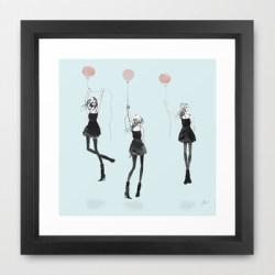 Girls Afloat Framed Art Print by Allison Reich