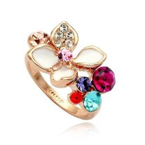 Magic Collection 18k Rose Gold Plated Multi Color Crystals & White Enamel Flower Cocktail Ring Size 5-9