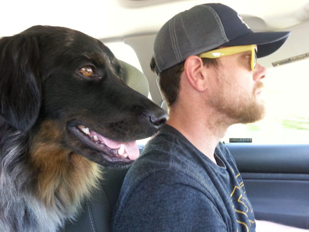 photo of Dan, Lisa's partner and their dog Echo
