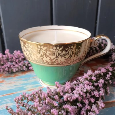 one of a kind vintage tea cup candle