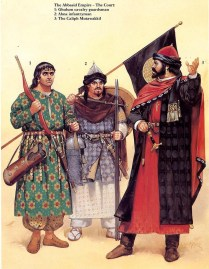 9th century Arab Caliph of the Abbasid Caliphate with his bodyguard.