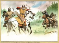Avar clash with Carolingian Frank early 9th century.