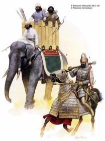 Clibanario y elefante de guerra sasánidas, siglo VI d.C.