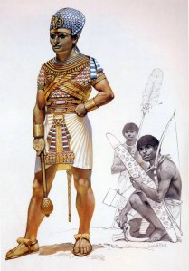 egyptian pharaoh of the 15th century BC wearing armour.