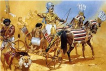 egyptian pharaoh ramses II in his chariot