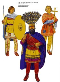 great byzantine emperor Heraclius with his bodyguard, After his victory over the Sassanid Empire