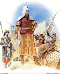 great general and sultan of the Ayyubid dynasty saladin looking at the walls of jerusalem