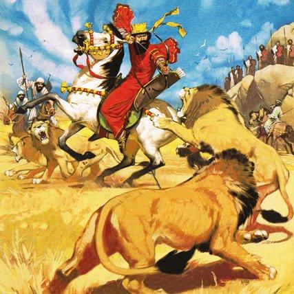 King Darius of Persia hunting lions