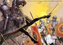 Las primeras filas de la Legio II Traiana atacan a los catafractos persas, batalla de Resaina, Mesopotamia, 243 d.C.