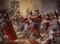 Legionarios del ejército de César en acción en Galia central, c. 52 a.C.