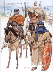 Muslim warriors led by the Umayyad caliphate general Tariq ibn Ziyad during the conquest of the Visigothic Kingdom in Spain and Portugal