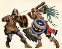panish Conquistador fighting against an Aztec Eagle Warrior during the Spanish conquest of the Aztec Empire in 1521.