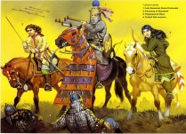 sassanid persian cavalry warriors during the wars against the turkish tribes in the 7th century AD