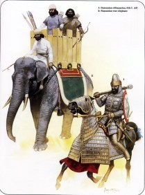 sassanid persian cavalryman and a war elephant during the wars against rome